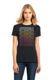 Ladies Black Jeffersonville, IN | Retro, Vintage Style Indiana Pride  T-shirt