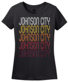 Ladies Black Johnson City, NY | Retro, Vintage Style New York Pride  T-shirt