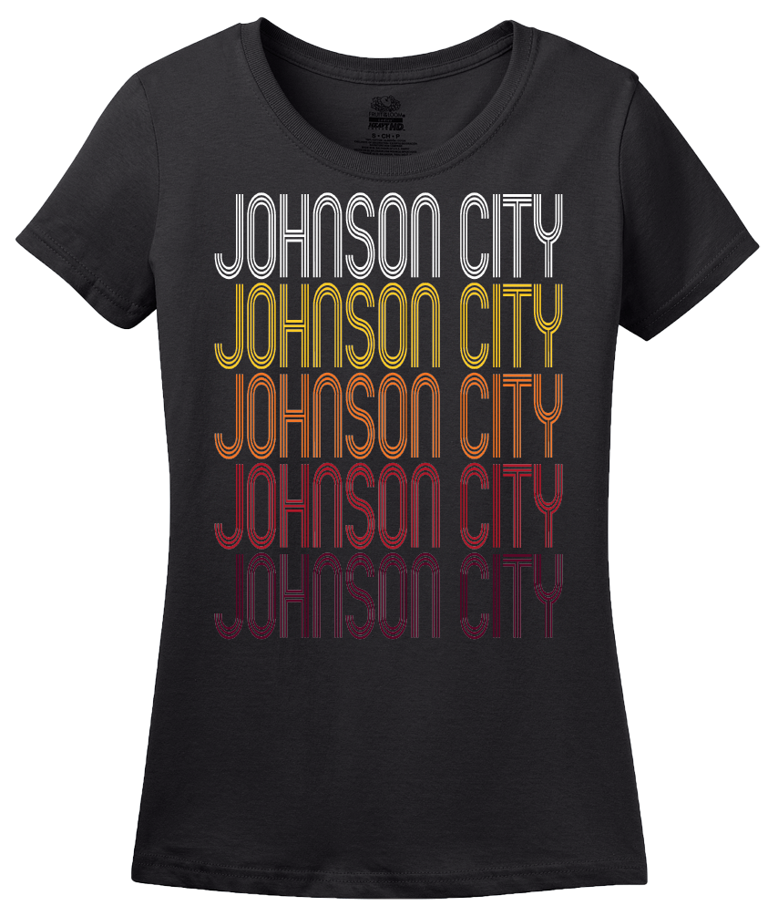 Ladies Black Johnson City, TN | Retro, Vintage Style Tennessee Pride  T-shirt