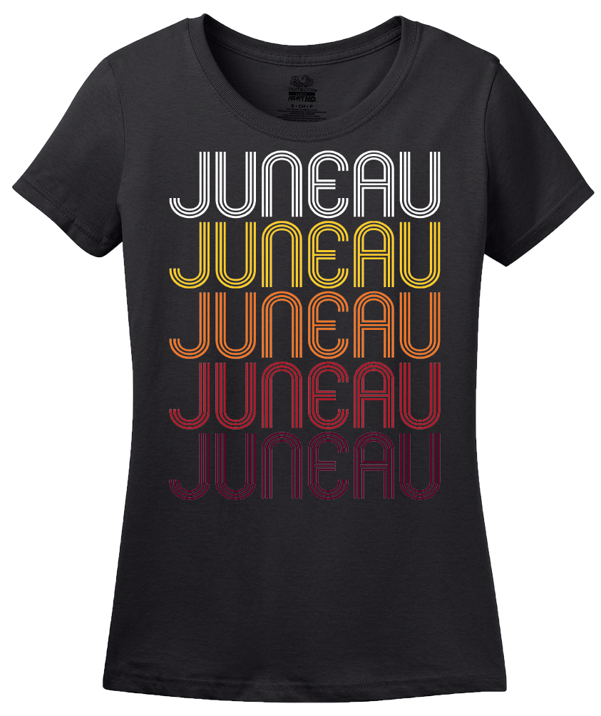 Ladies Black Juneau, WI | Retro, Vintage Style Wisconsin Pride  T-shirt