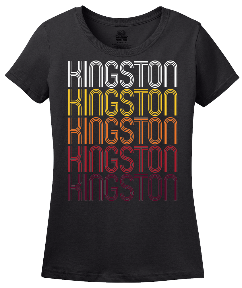 Ladies Black Kingston, OK | Retro, Vintage Style Oklahoma Pride  T-shirt