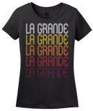 Ladies Black La Grande, OR | Retro, Vintage Style Oregon Pride  T-shirt