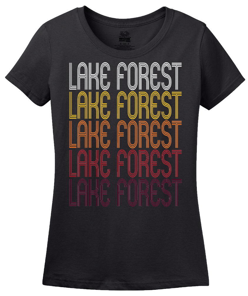 Ladies Black Lake Forest, IL | Retro, Vintage Style Illinois Pride  T-shirt