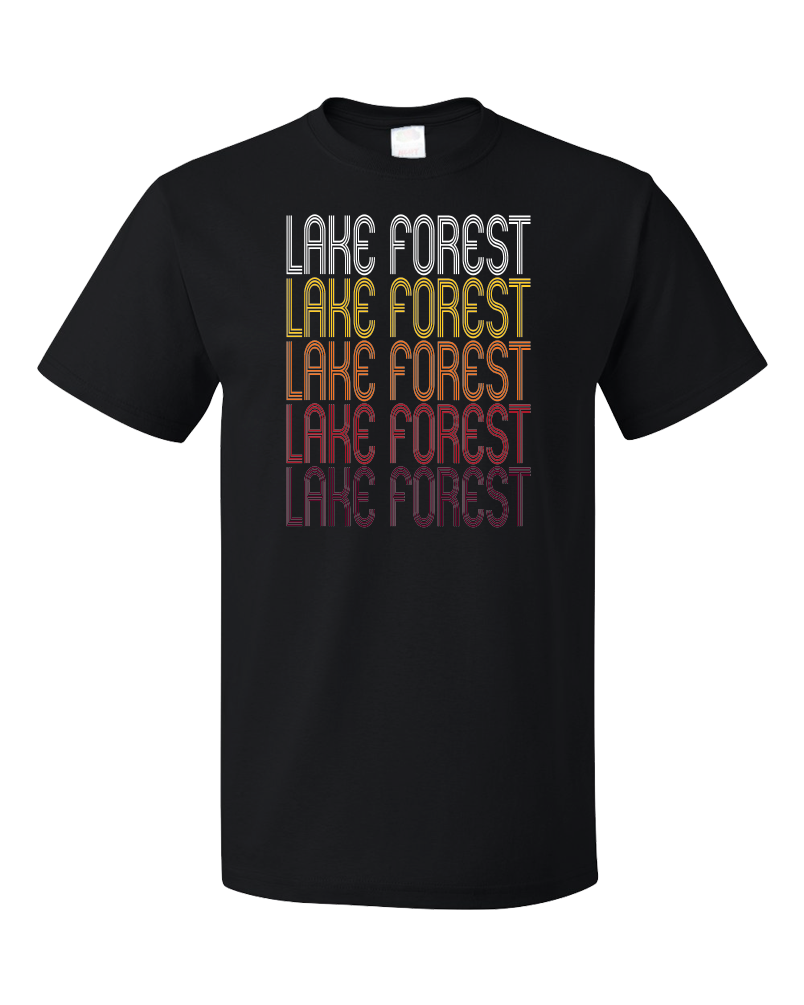 Standard Black Lake Forest, IL | Retro, Vintage Style Illinois Pride  T-shirt