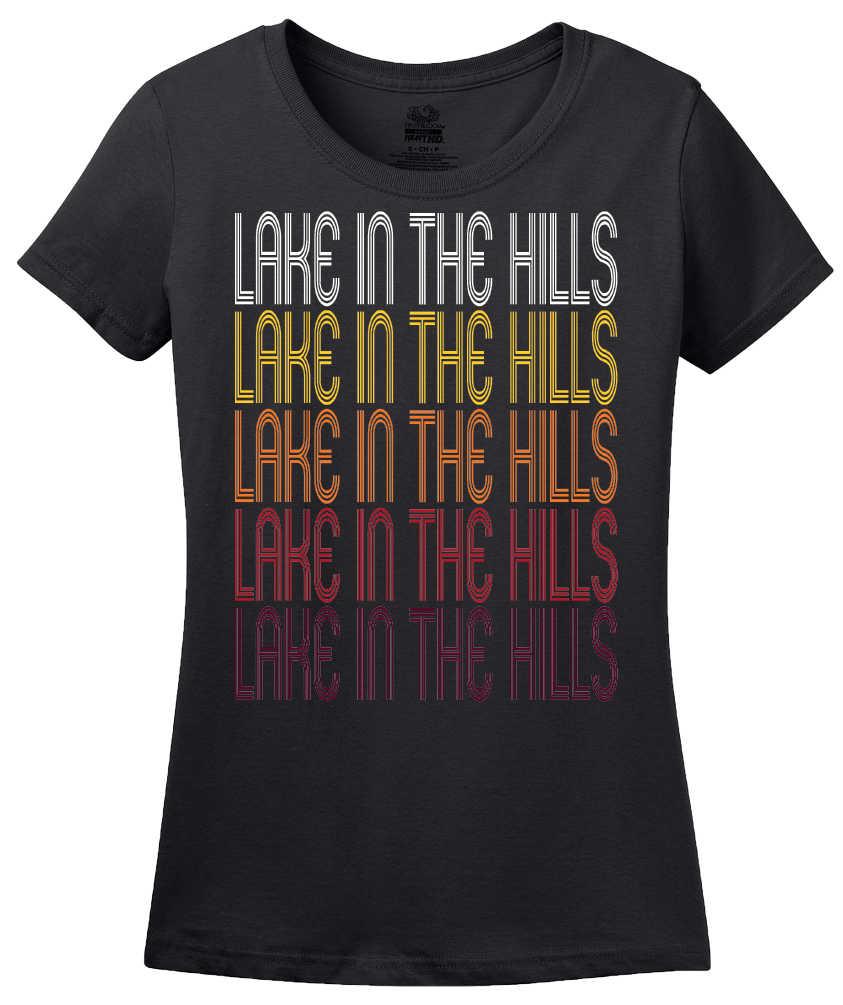 Ladies Black Lake in the Hills, IL | Retro, Vintage Style Illinois Pride  T-shirt