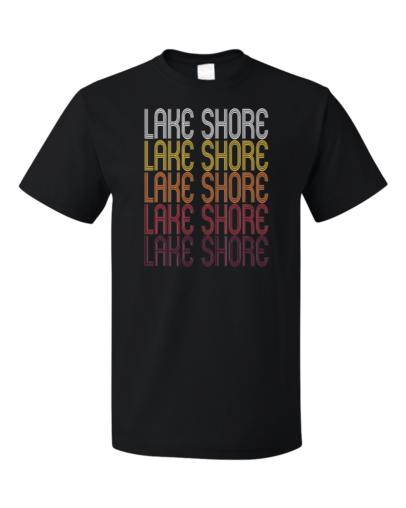 Standard Black Lake Shore, MN | Retro, Vintage Style Minnesota Pride  T-shirt