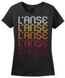 Ladies Black L'Anse, MI | Retro, Vintage Style Michigan Pride  T-shirt