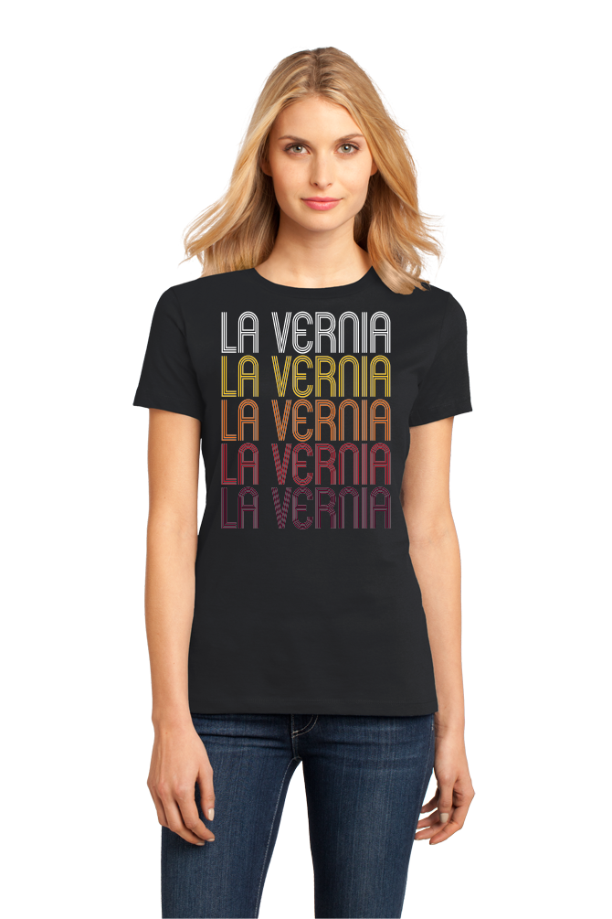 Ladies Black La Vernia, TX | Retro, Vintage Style Texas Pride  T-shirt