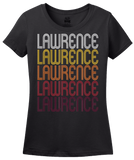 Ladies Black Lawrence, MA | Retro, Vintage Style Massachusetts Pride  T-shirt
