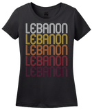 Ladies Black Lebanon, IL | Retro, Vintage Style Illinois Pride  T-shirt
