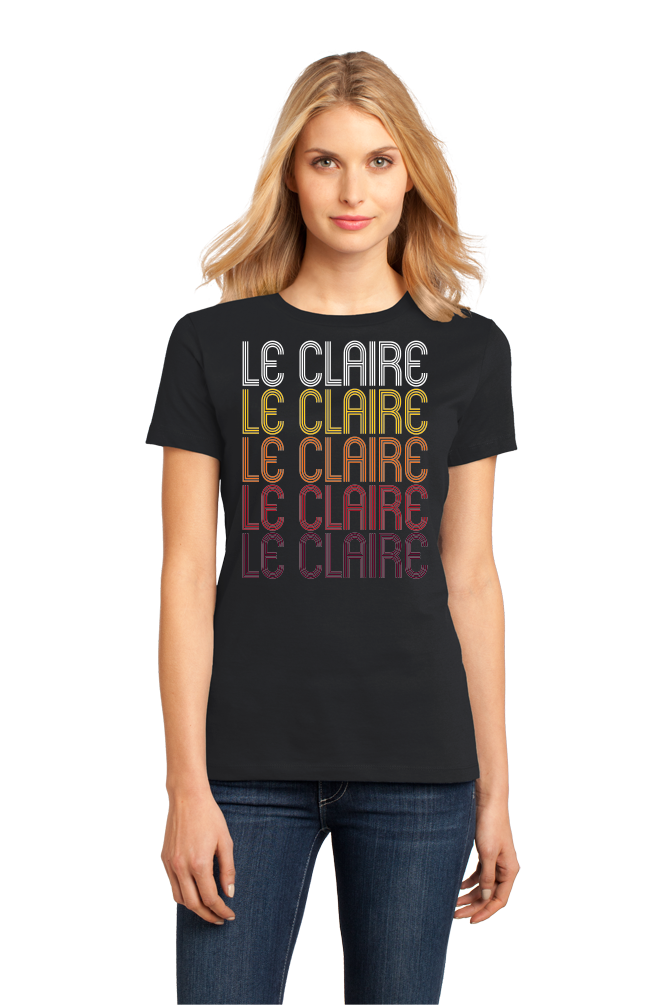 Ladies Black Le Claire, IA | Retro, Vintage Style Iowa Pride  T-shirt