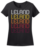 Ladies Black Leland, MS | Retro, Vintage Style Mississippi Pride  T-shirt