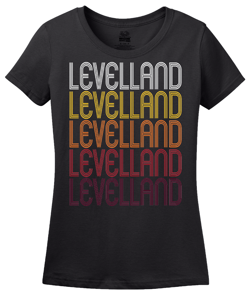 Ladies Black Levelland, TX | Retro, Vintage Style Texas Pride  T-shirt