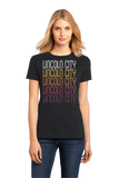 Ladies Black Lincoln City, OR | Retro, Vintage Style Oregon Pride  T-shirt