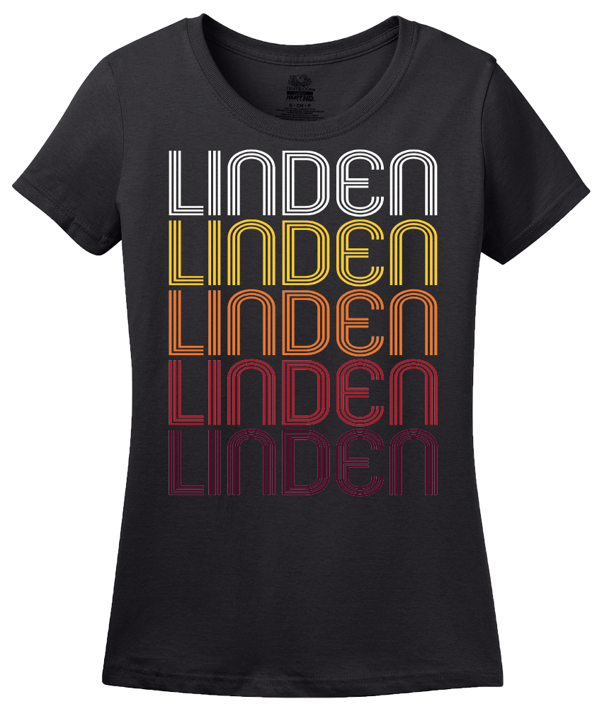 Ladies Black Linden, TX | Retro, Vintage Style Texas Pride  T-shirt