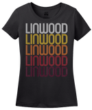 Ladies Black Linwood, NJ | Retro, Vintage Style New Jersey Pride  T-shirt