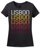 Ladies Black Lisbon, IA | Retro, Vintage Style Iowa Pride  T-shirt