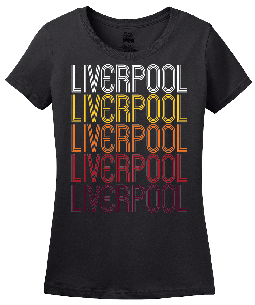 Ladies Black Liverpool, NY | Retro, Vintage Style New York Pride  T-shirt