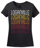 Ladies Black Loganville, GA | Retro, Vintage Style Georgia Pride  T-shirt