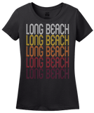 Ladies Black Long Beach, IN | Retro, Vintage Style Indiana Pride  T-shirt