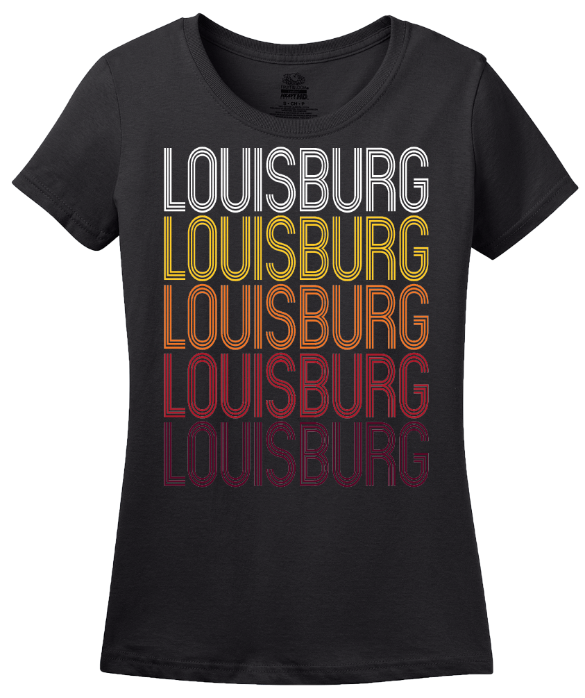 Ladies Black Louisburg, NC | Retro, Vintage Style North Carolina Pride  T-shirt
