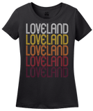 Ladies Black Loveland, CO | Retro, Vintage Style Colorado Pride  T-shirt