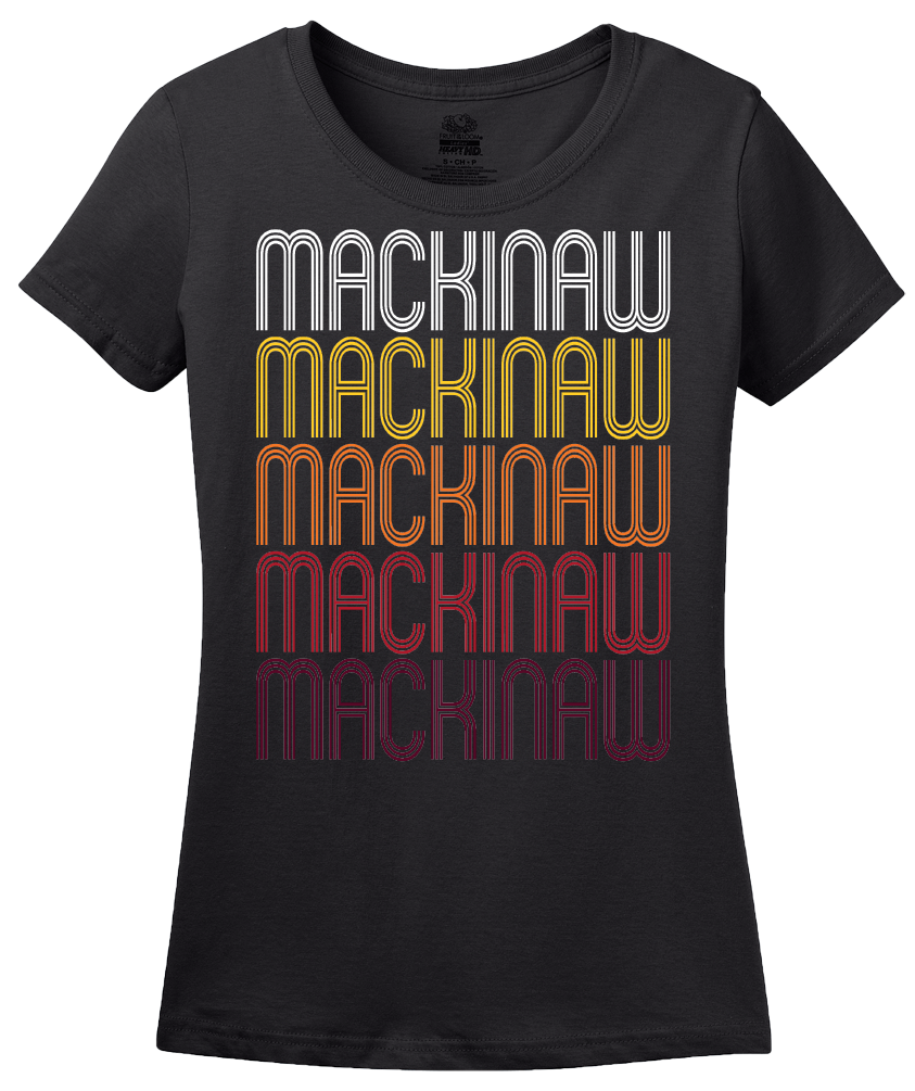 Ladies Black Mackinaw, IL | Retro, Vintage Style Illinois Pride  T-shirt