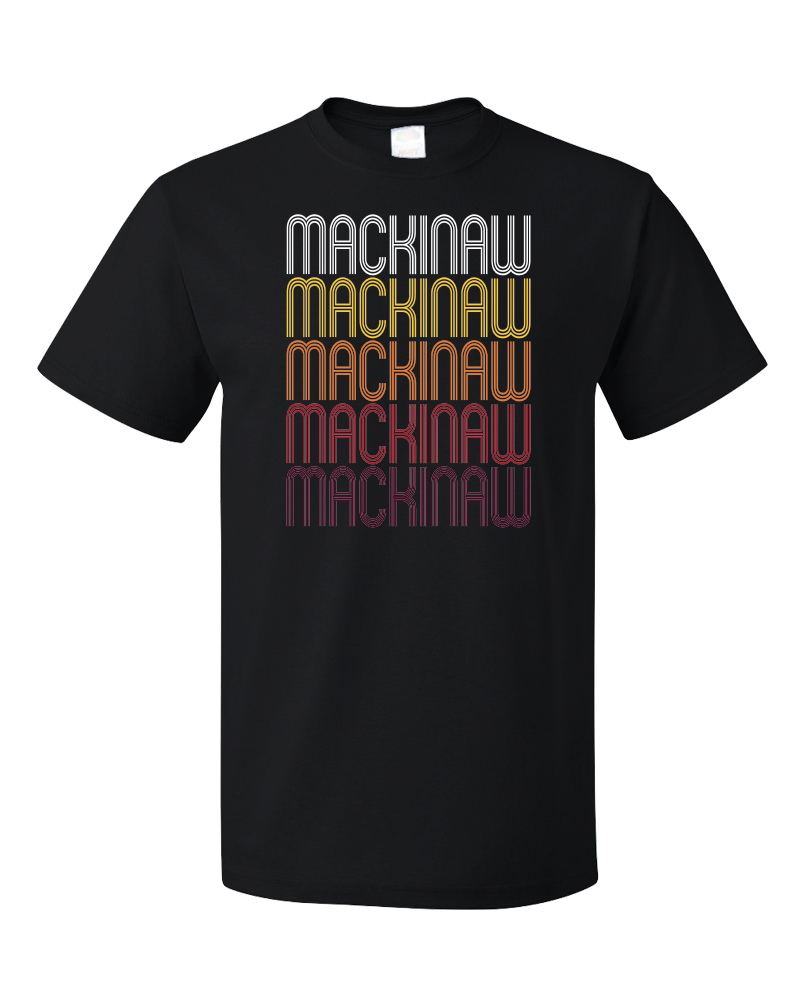 Standard Black Mackinaw, IL | Retro, Vintage Style Illinois Pride  T-shirt