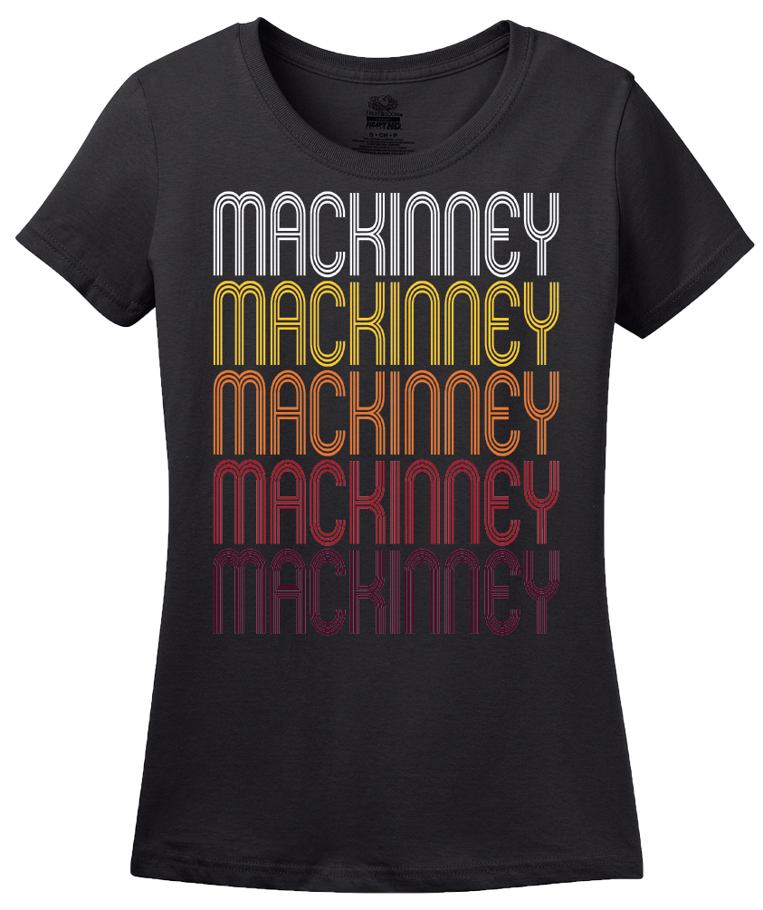 Ladies Black Mackinney, TX | Retro, Vintage Style Texas Pride  T-shirt