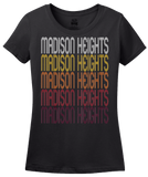 Ladies Black Madison Heights, MI | Retro, Vintage Style Michigan Pride  T-shirt