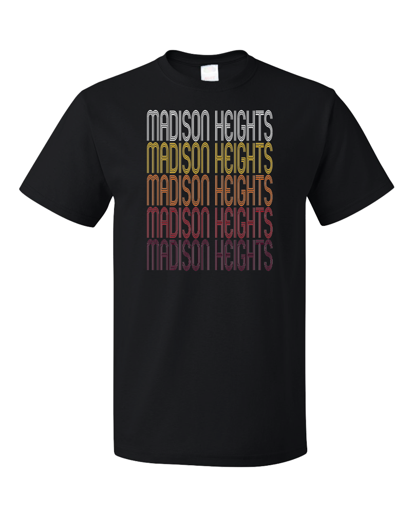 Standard Black Madison Heights, MI | Retro, Vintage Style Michigan Pride  T-shirt
