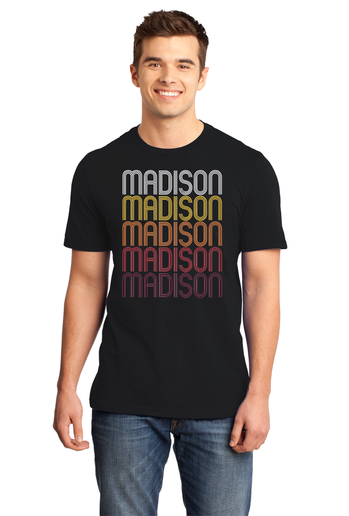Standard Black Madison, NE | Retro, Vintage Style Nebraska Pride  T-shirt