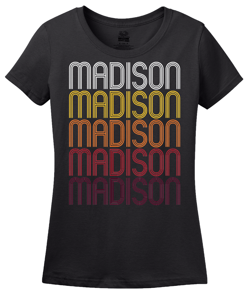 Ladies Black Madison, OH | Retro, Vintage Style Ohio Pride  T-shirt