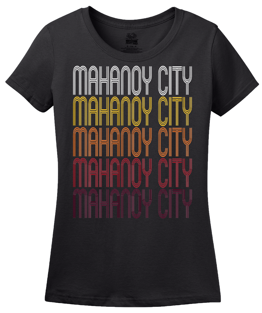 Ladies Black Mahanoy City, PA | Retro, Vintage Style Pennsylvania Pride  T-shirt