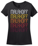 Ladies Black Malakoff, TX | Retro, Vintage Style Texas Pride  T-shirt