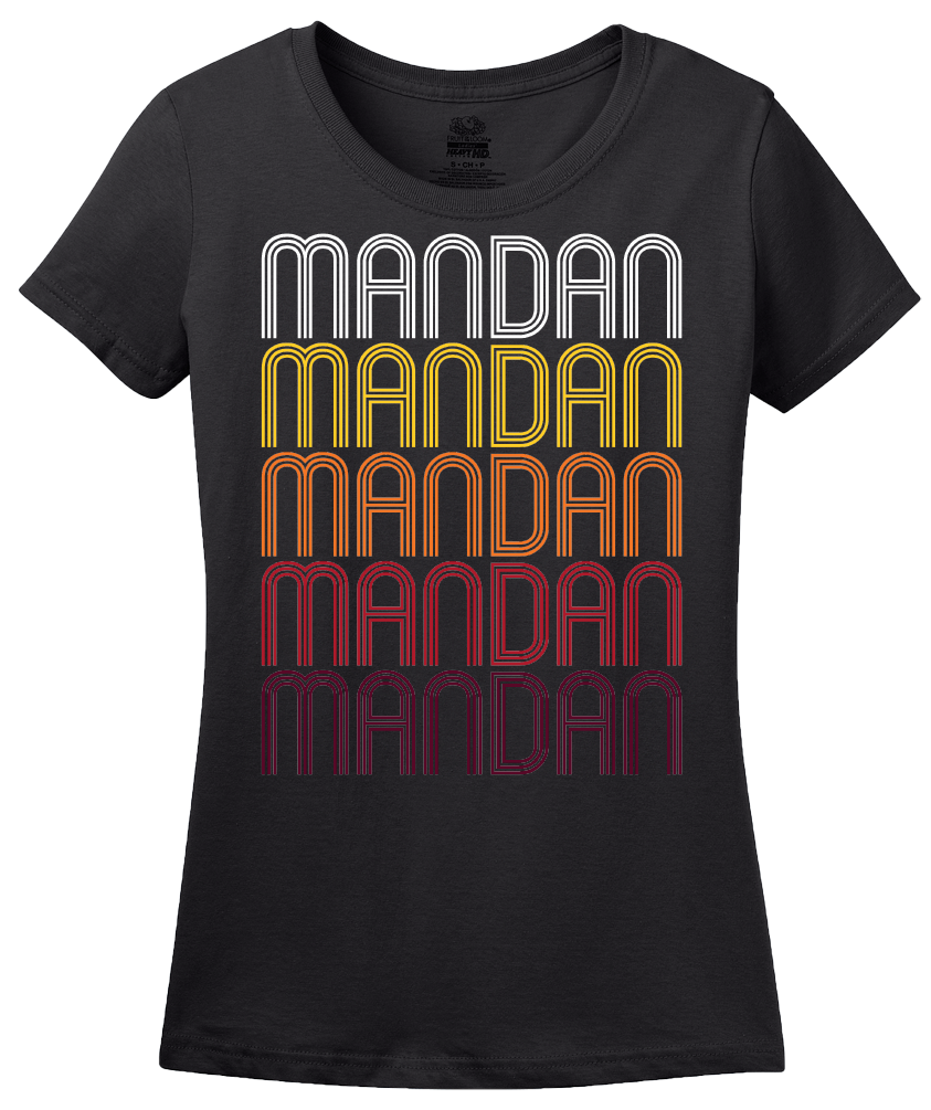 Ladies Black Mandan, ND | Retro, Vintage Style North Dakota Pride  T-shirt