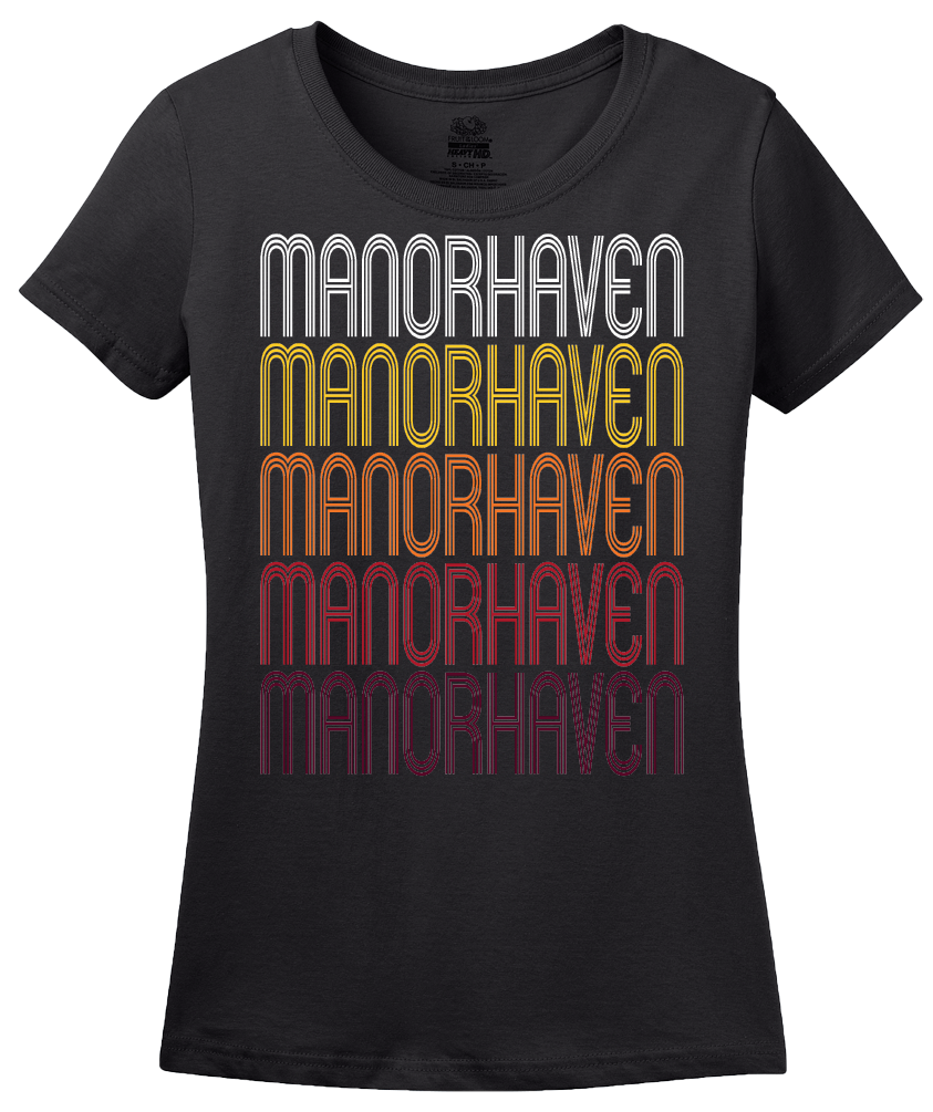 Ladies Black Manorhaven, NY | Retro, Vintage Style New York Pride  T-shirt