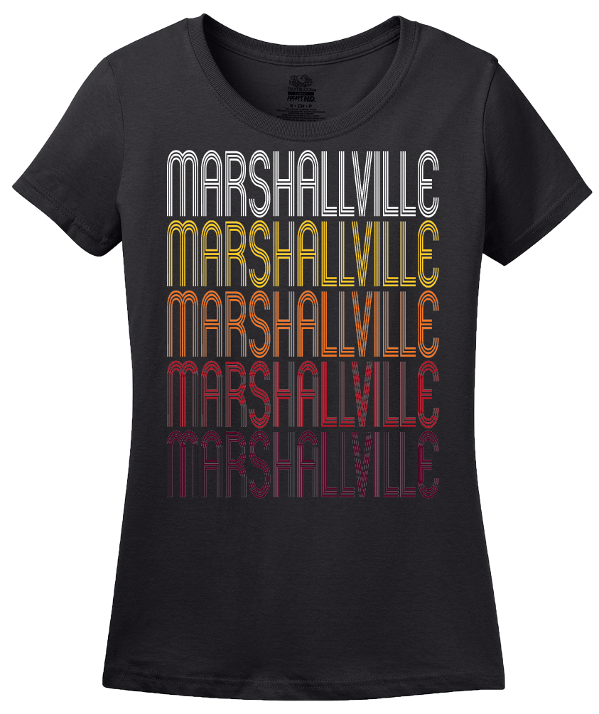Ladies Black Marshallville, GA | Retro, Vintage Style Georgia Pride  T-shirt