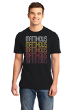 Standard Black Matthews, NC | Retro, Vintage Style North Carolina Pride  T-shirt