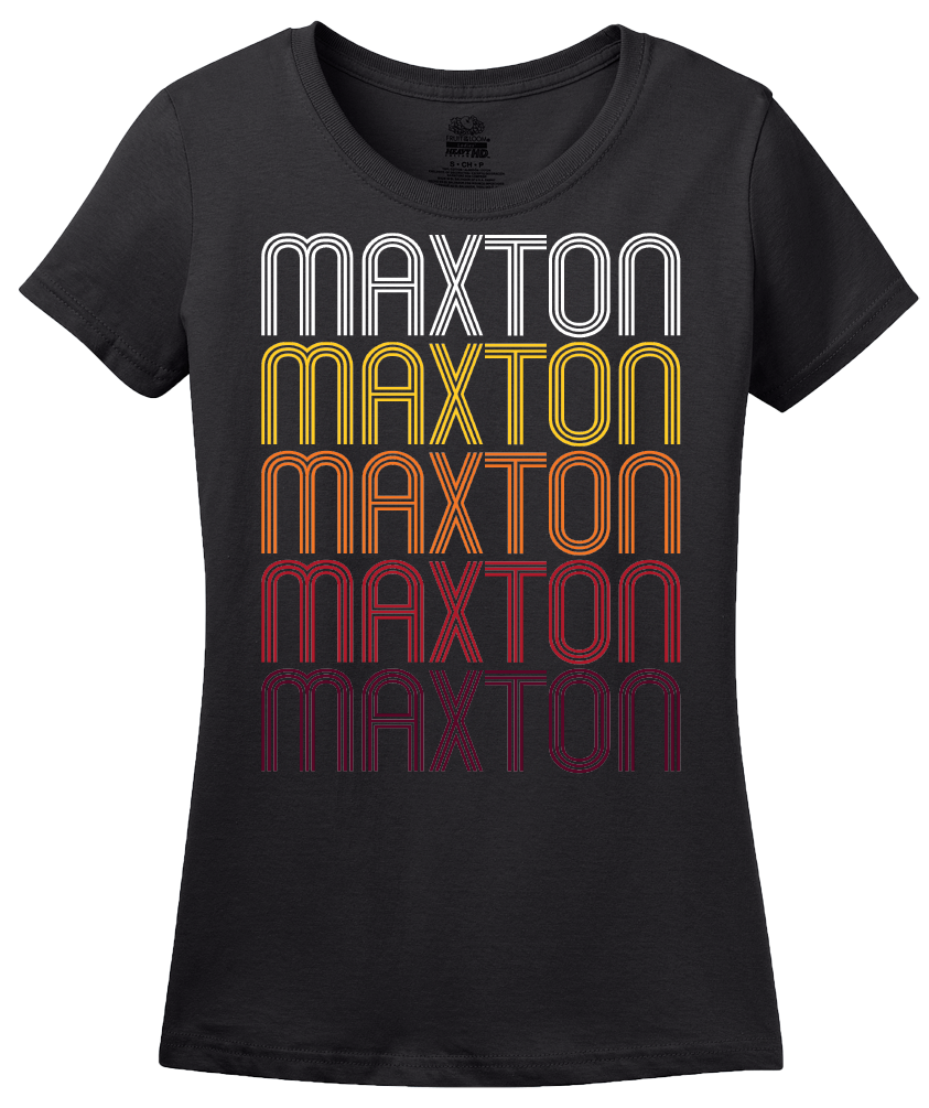 Ladies Black Maxton, NC | Retro, Vintage Style North Carolina Pride  T-shirt