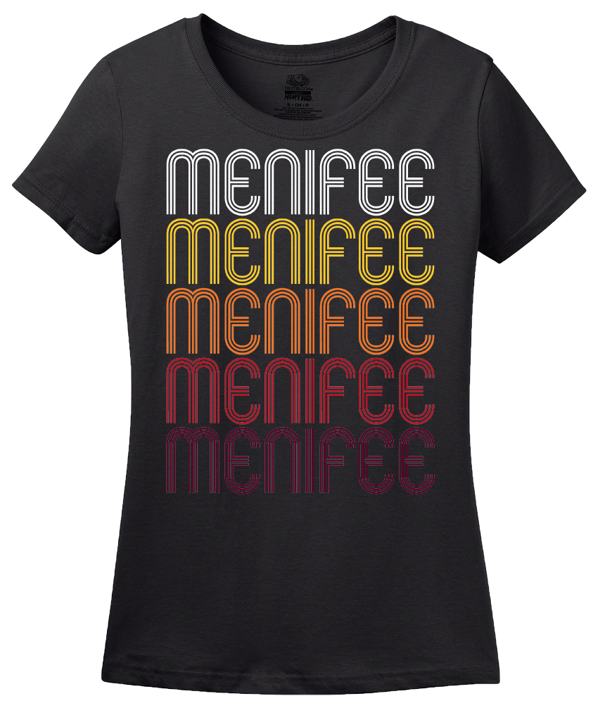 Ladies Black Menifee, CA | Retro, Vintage Style California Pride  T-shirt