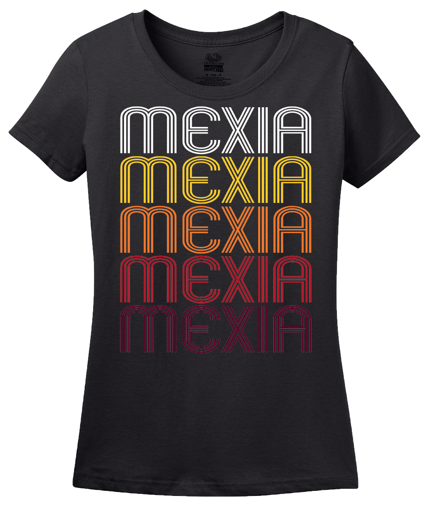 Ladies Black Mexia, TX | Retro, Vintage Style Texas Pride  T-shirt