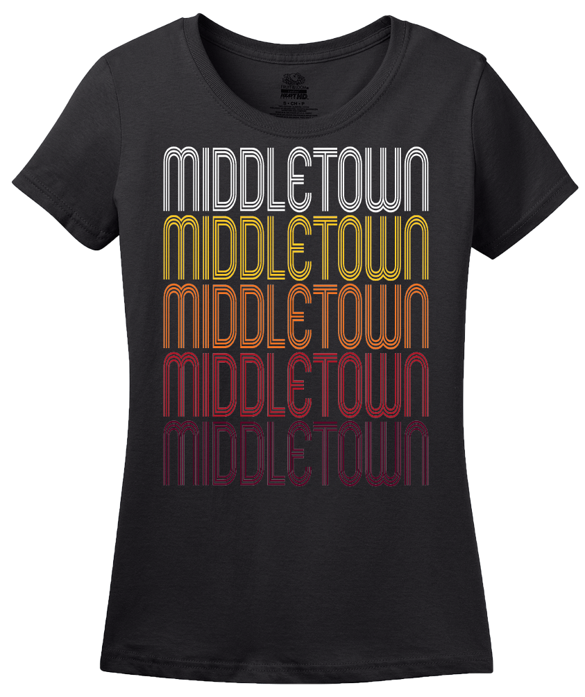Ladies Black Middletown, IN | Retro, Vintage Style Indiana Pride  T-shirt