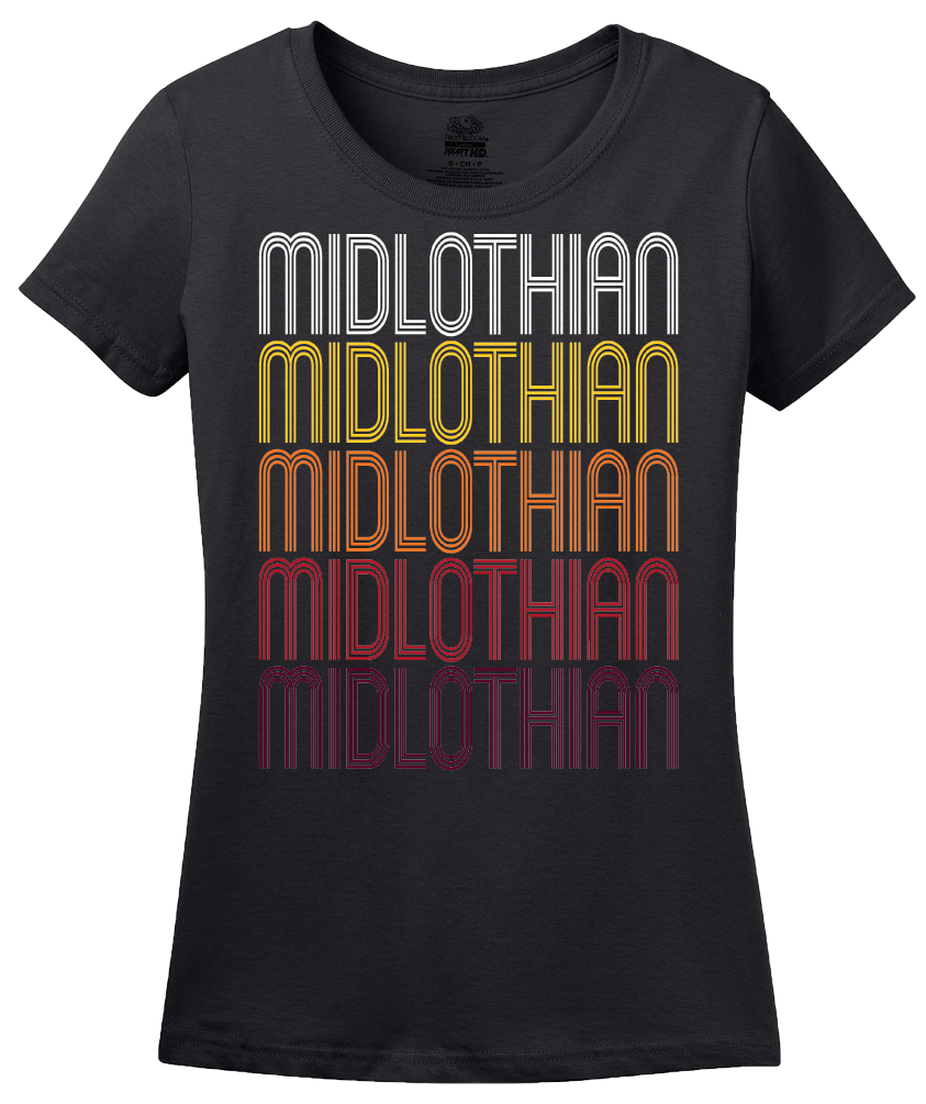 Ladies Black Midlothian, IL | Retro, Vintage Style Illinois Pride  T-shirt