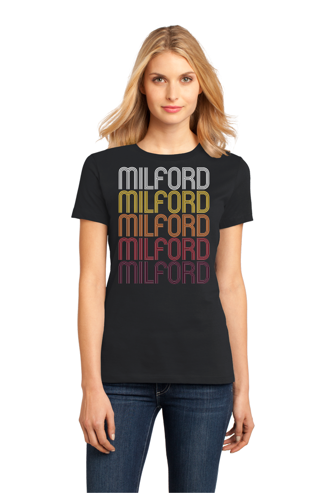 Ladies Black Milford, IL | Retro, Vintage Style Illinois Pride  T-shirt