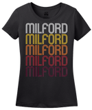 Ladies Black Milford, IN | Retro, Vintage Style Indiana Pride  T-shirt