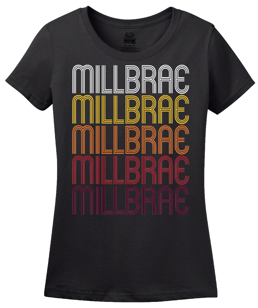 Ladies Black Millbrae, CA | Retro, Vintage Style California Pride  T-shirt