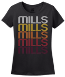Ladies Black Mills, WY | Retro, Vintage Style Wyoming Pride  T-shirt