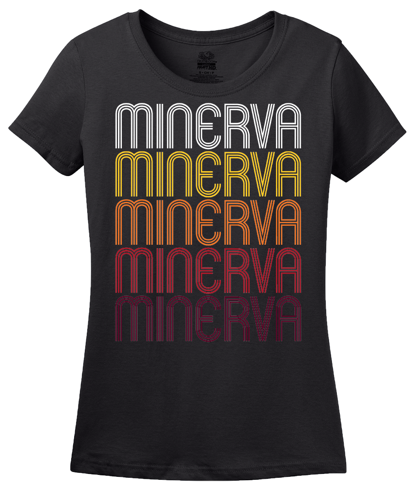 Ladies Black Minerva, OH | Retro, Vintage Style Ohio Pride  T-shirt