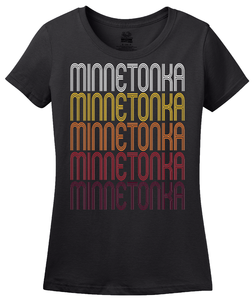 Ladies Black Minnetonka, MN | Retro, Vintage Style Minnesota Pride  T-shirt